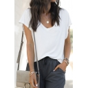 Simple Womens Short Sleeve V-Neck Solid Color Relaxed Fit T-Shirt in White