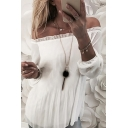 Womens Long Sleeve Off Shoulder Pleated Mesh Stringy Selvedge Loose Fit Blouse in White