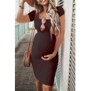 Summer Chic Short Sleeve Round Neck Solid Color Midi Fitted Maternity T-Shirt Dress