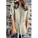 Popular Womens Rolled Short Sleeve Round Neck Bow Tie Waist Plain Loose Fit Blouse Top