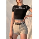 Chic Cool Girls Short Sleeve Crew Neck Letter 50% THAT 50% BITCH Print Contrast Piped Slim Fit Crop T-Shirt in Black