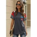 Streetwear Womens Short Sleeve Round Neck Stripe Printed Curved Hem Relaxed Fit T-Shirt
