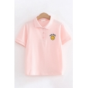 Cute Ladies Short Sleeve Lapel Collar Button Up Letter HELLO SMILE Smile Face Embroidered Slim Fit Polo Shirt
