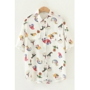 Preppy Looks Unique Short Sleeve Lapel Neck Button Down Flap Pocket Allover Cartoon Pattern Relaxed Fit Shirt in White
