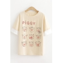 Exclusive Womens Short Sleeve Round Neck Letter PIGGY Cartoon Pig Graphic Patched Contrasted Loose Fit T-Shirt