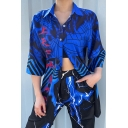 Popular Womens Blue Three-Quarter Sleeve Lapel Neck Button Down Chinese Letter Spider Web Stripe Graphic Relaxed Shirt