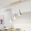3 Bulbs Dining Room Cluster Pendant Lamp Modern Nordic White/Black Finish Ceiling Light with Urn Iron Shade