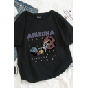 Womens Simple Short Sleeve Round Neck Letter ARIZONA Rocket Graphic Relaxed Fit T-Shirt