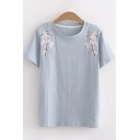 Simple Womens Short Sleeve Round Neck Floral Embroidered Relaxed Fit Tee Top