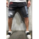 Hip Hop Mens Mid Rise Letter Print Patchwork Colorblock Raw Edge Distressed Relaxed Fit Denim Shorts in Black