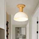 Simple Dome Semi Flush Light Fixture White Glass 1 Bulb Hallway Ceiling Mounted Lamp in Wood