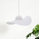 Hat Shaped Hanging Pendant Kit Modernist Acrylic Single Light White/Grey Ceiling Lamp for Living Room