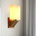 Wood Cuboid Wall Lighting Modernist 1 Head White Frosted Glass Wall Sconce Lamp with Triangle Metal Base