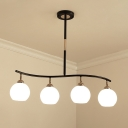 Black Finish Waving Linear Chandelier Light Modern 4-Head Metal Pendant Lamp Fixture with Ball Cream Glass Shade