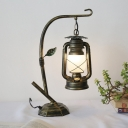 1-Light Cream Glass Table Light Industrial Brass/Copper Kerosene Bedroom Desk Lamp with Branch Arm