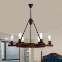 Wood Brown Chandelier Lamp Exposed Bulb 6 Heads Countryside Hanging Light Kit with Rudder Design