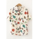 Unique Womens Short Sleeve Spread Collar Button Down Mix Cartoon Pear Radish Maple Leaf Print Relaxed Shirt in Apricot