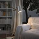 Modernist Tube Standing Lamp Iron 1 Light Living Room Swing Arm Floor Light in White/Black