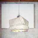 1 Head Living Room Hanging Light Modern White Ceiling Pendant Light with Sack Kraft Paper Shade