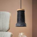 Industrial Cylinder Hanging Ceiling Light 1-Head Cement Pendant Lamp Fixture in Black/Grey/White and Wood
