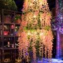 3 Tiers Round Bar Hanging Chandelier Industrial Iron 11-Light Pink Flower Suspended Lighting Fixture