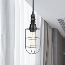 Black Finish Wire Cage Pendant Light Industrial Iron 1-Light Bar Hanging Ceiling Lamp with Adjustable Cord