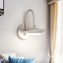 Coffee/White Rotatable Urn Wall Lamp Sconce Contemporary Metal LED Wall Mounted Light with Gooseneck Arm for Bedroom