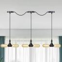 6/10/14 Bulbs LED Multi-Light Pendant Vintage Restaurant Tandem Suspension Lamp with Capsule Amber Glass Shade in Black