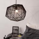 Black/White Faceted Globe Pendant Light Minimalist Fabric 1 Bulb Bedroom Ceiling Suspension Lamp