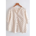 Trendy Girls Three-Quarter Sleeve Collarless Button Up Polka Dot Print Chest Pocket Loose Shirt