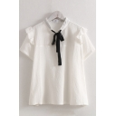 Preppy Looks White Short Sleeve Bow Tie Neck Ruffled Trim Relaxed Shirt Top for Ladies