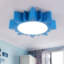 Kids Style Ceiling Mounted Fixture Yellow/Blue/Red Sun Shaped Flush Mount Lamp with Acrylic Shade