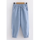 Stylish Ladies Drawstring Waist Stripe Printed Cuffed Cropped Baggy Jeans in Light Blue