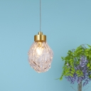 Bottle Mini Drop Pendant Mid-Century Clear Melting Glass 1-Light Gold Hanging Ceiling Light over Table