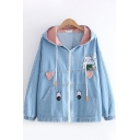 Popular Light Blue Long Sleeve Ears Hooded Drawstring Cartoon Chinchillas Eyes Embroidered Plaid Print Relaxed Denim Jacket