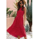 Pretty Girls Sleeveless Round Neck Polka Dot Print Ruffled Trim Maxi Pleated A-Line Dress