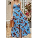 Glamorous Girls Vacation Sleeveless Bow Tie Front All Over Flower Printed Lace Up Hollow Out Back Maxi Flowy Cami Dress