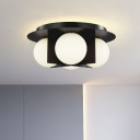 Cream Glass Bubble Flush Mount Contemporary 3 Bulbs Ceiling Light Fixture with Black/Gold/Chrome Shield