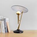 Metal Torch-Like Table Light Designer Single Black and Gold Night Lamp with Rotatable Disk Shade