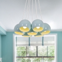Cluster Dome Pendant Macaron Iron 7 Lights Living Room Ceiling Suspension Lamp in Blue