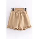 Popular Fancy Ladies Solid Color Elastic Waist Stringy Selvedge Relaxed Fit Shorts