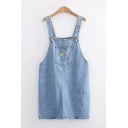 Stylish Womens Sleeveless Floral Embroidery Pocket Panel Short Shift Suspender Denim Blue Dress
