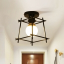 1 Bulb Corridor Mini Flush Mount Simple Black Ceiling Lighting with Trapezoid Metal/Wood Frame