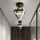 Minimalist LED Flush Ceiling Light Black/Gold Intersected Square Flushmount with Iron Frame, Warm/White Light