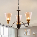 Clear Glass Gold Finish Chandelier Inverted Cone Shade 3/5 Lights Traditional Suspension Pendant