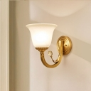 1/2-Light Bell Wall Sconce Traditional Brass Frosted Glass Wall Mount Fixture with Arm