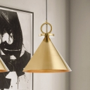 Vintage Cone Pendant Lighting 1 Head Metal Ceiling Suspension Lamp in Brass for Dining Room