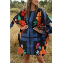 Ethnic Girls Bow Tie Sleeve Round Neck All Over Floral Printed Colorblock Short Oversize Beach Dress in Black
