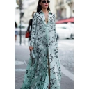 Chic Womens Green Long Sleeve Spread Collar Button Up All Over Floral Printed Maxi Swing Shirt Boho Dress