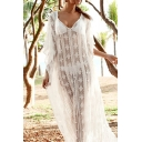 Bohemian Ladies Batwing Sleeve V-Neck See-Through Lace Maxi Oversize White Dress